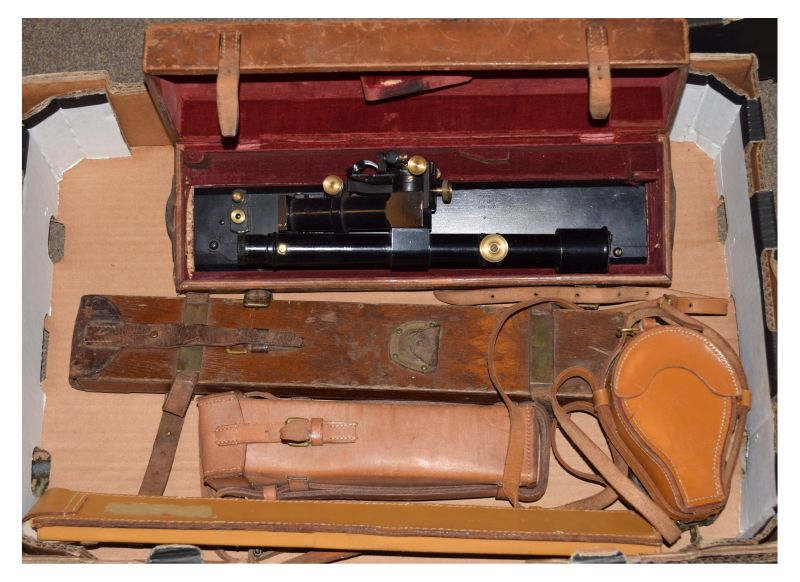 Lot 687 - Surveying equipment - Hall Brothers No.A.7 level, cased, a compass and other surveying equipment