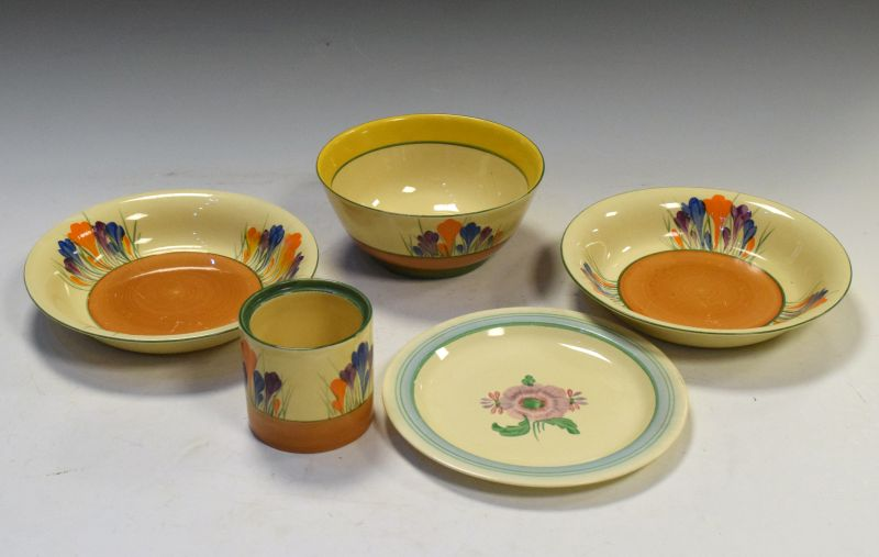 Four items of Clarice Cliff 'Crocus' pottery comprising: a pair of bowls, 20cm diameter, another,