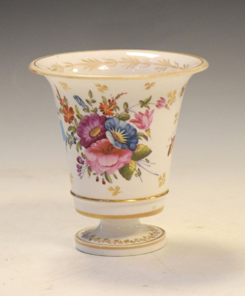 Early 19th Century English porcelain vase of campana form finely painted with flowers and insects,