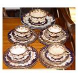 Staffordshire part tea set decorated with flowers and gilding