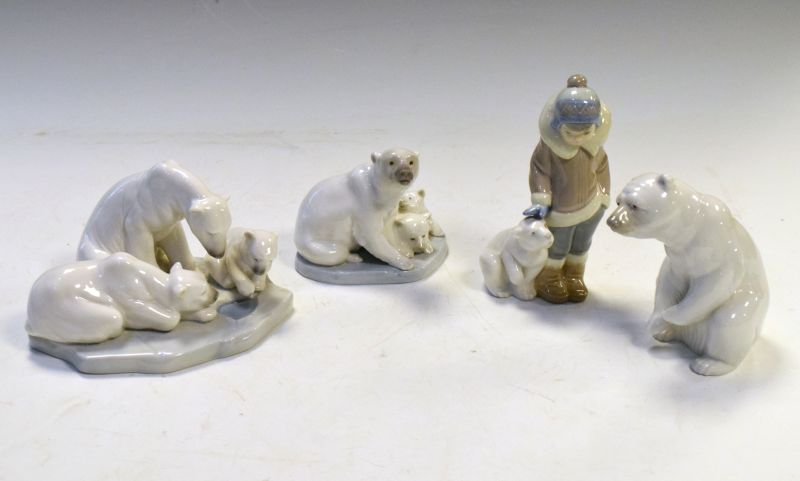 Lladro Polar Bear figures comprising: Two figure groups of three bears and a single, together with