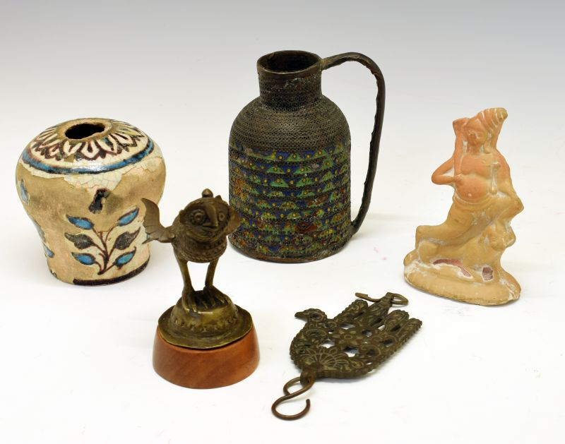 Group of antiquities to include; Middle Eastern Iznik-style faience vase, enamelled copper vessel,