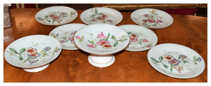 Early 20th Century transfer printed and hand painted porcelain dessert service having floral