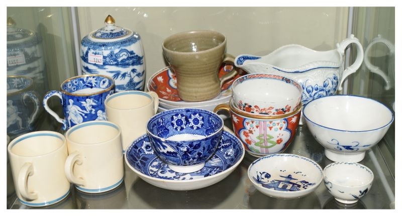 Group of 18th-20th Century ceramics to include; 18th Century blue and white porcelain sauce boat,
