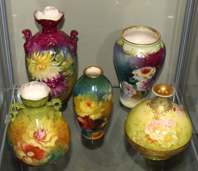 Five assorted Royal Bonn porcelain vases, each with floral decoration, largest 21cm high