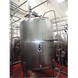 1500 Gallon Cherry Burrell Stainless Steel Top Agitated Mixing Tank, 6' Diameter X 7' Straightwall X