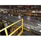 "Multi-Conveyor Pressureless Combiner, 33' Long, Right Hand, 18"" Rexnord Infeed To (9) 4 1/2"""