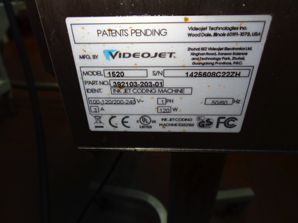 2014 Videojet Model 1520 Inkjet Package Coder.   NOTE: This lot is subject to the bulk bid of LOT 45 - Image 2 of 2