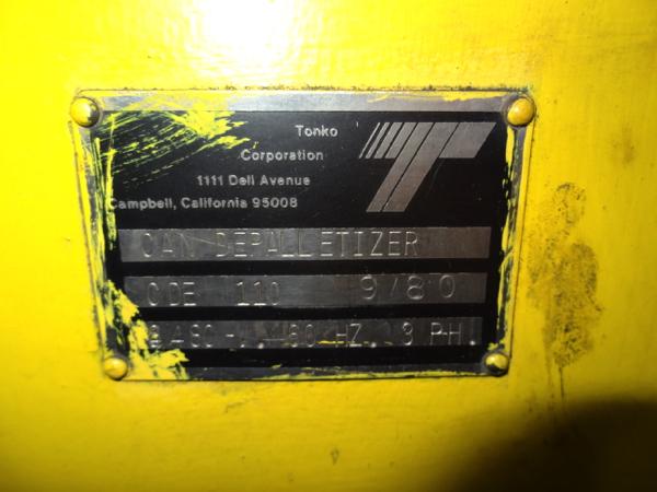 Lot 49 - Tonko Model CDE110 High Level Bulk Depalletizer, Z-Flow, Narrow Side, with 30' Infeed Conveyor,