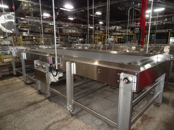 """Alliance Stainless Steel Accumulation Table, 6' x 21', 60"""" Elevation, Intralox 400 Belting, Clearing"""