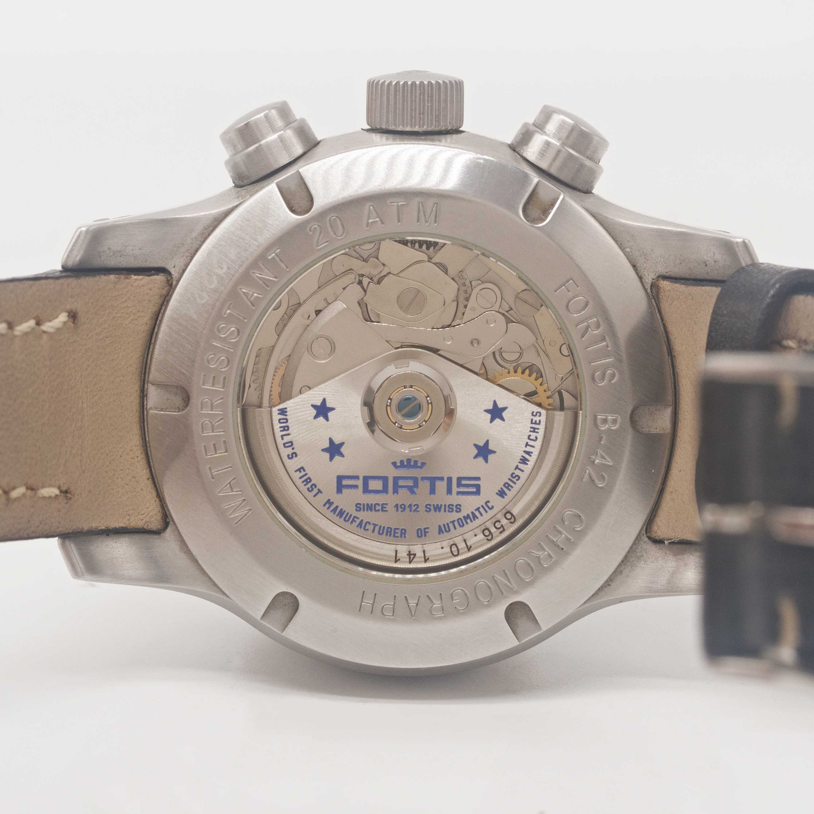 Lot 37 - A GENTLEMAN'S STAINLESS STEEL FORTIS B-42 AUTOMATIC CHRONOGRAPH WRIST WATCH DATED 2008, REF. 656.