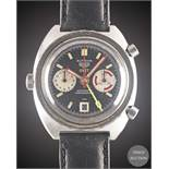 A GENTLEMAN'S STAINLESS STEEL HEUER AUTAVIA GMT AUTOMATIC CHRONOGRAPH WRIST WATCH CIRCA 1970s,