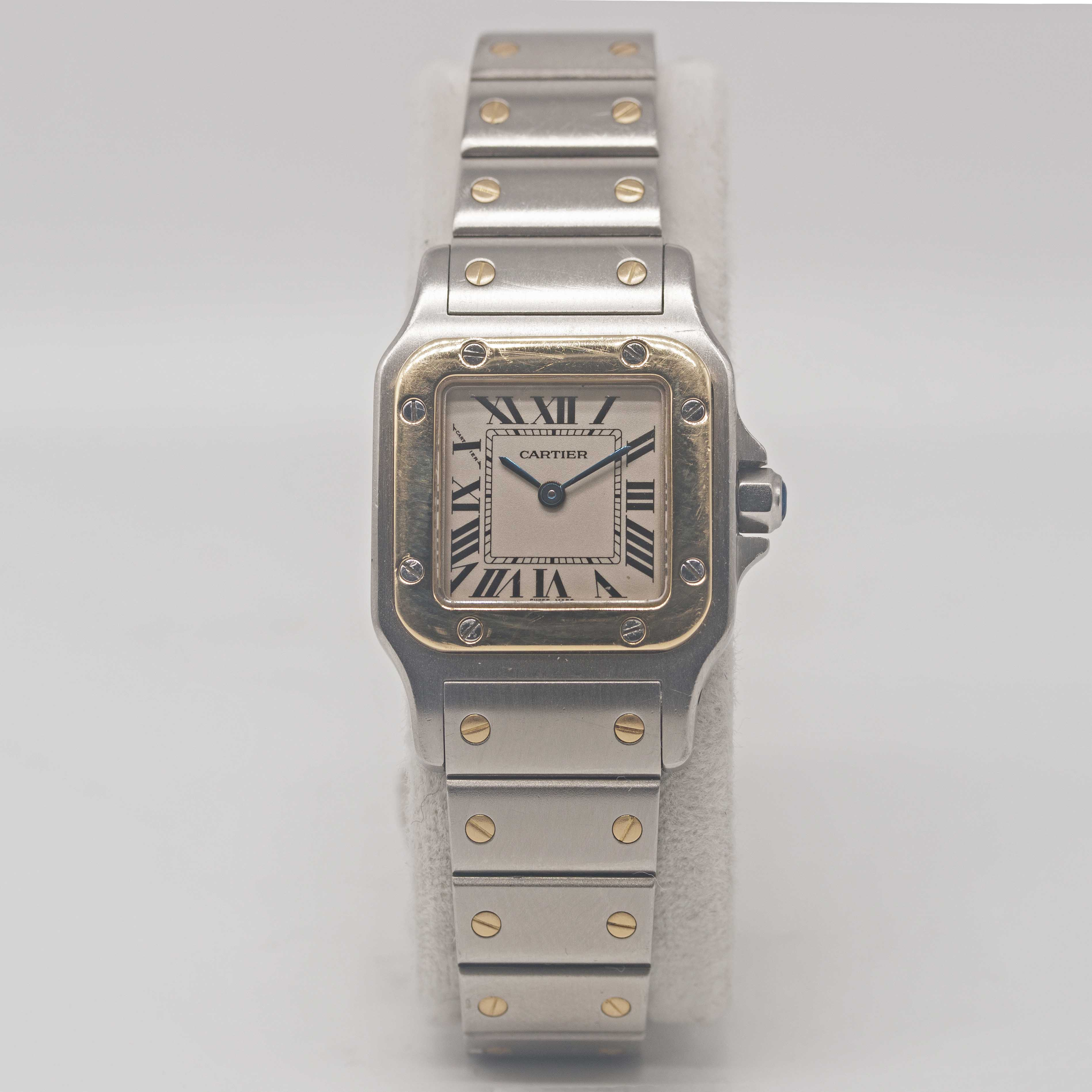 Lot 6 - A LADIES STEEL & GOLD CARTIER SANTOS GALBEE BRACELETWATCH CIRCA 1990s, REF. 1567 Movement: