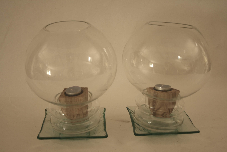 Lot 226 - Paire de photophores de forme boule - - Pair of ball-shaped Tealight holders - - [...]