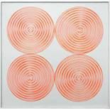Kämmer Rudolf (geb. 1935) 4 Spiralen 1967 Acryl-Leuchtfarbe auf Platte handsigniert und datiert