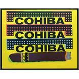 Kaufman Steve (1960-2010) Three Cohibas Siebdruck und Öl auf Leinwand Edition 5/50, Zertifikat Verso