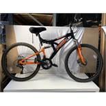 Trax TFS.20 black and orange 18 speed mountain bike