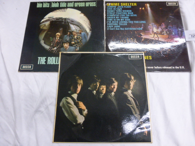 Lot 12 - Vinyl - The Rolling Stones - A collection of 3 lp's, The Rolling Stones (LK 4605) unboxed Decca, Big
