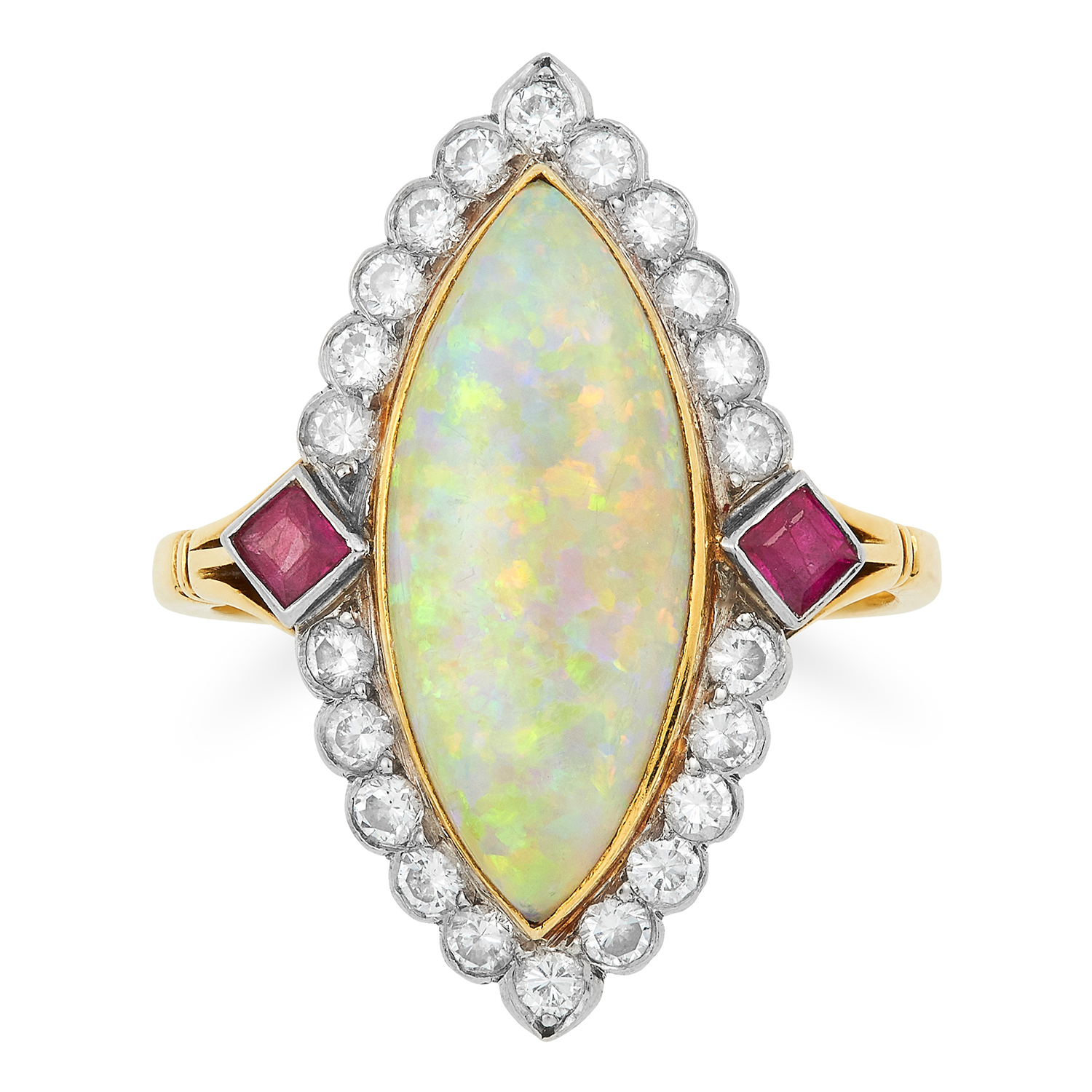 VINTAGE OPAL, DIAMOND AND RUBY CLUSTER RING set with a cabochon opal in a border of round cut