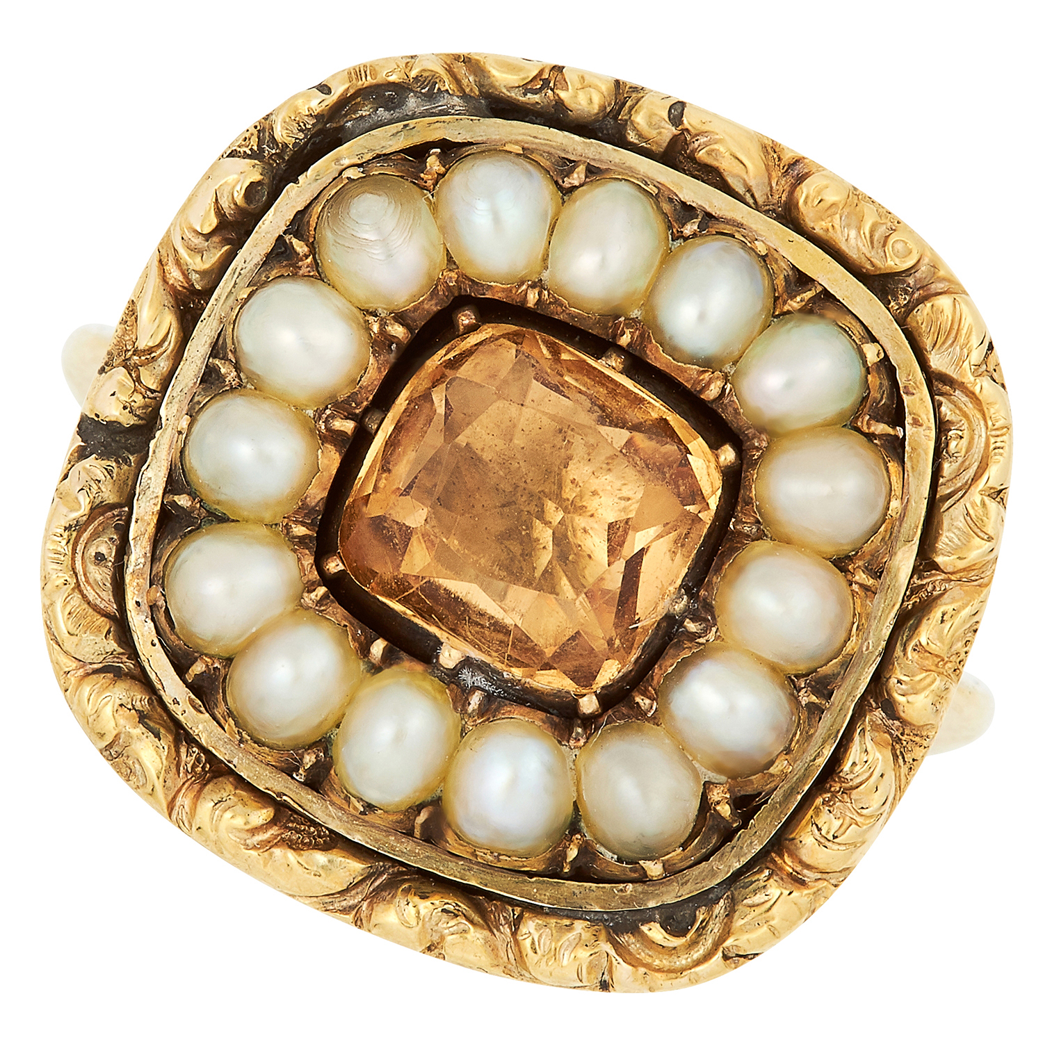 ANTIQUE IMPERIAL TOPAZ AND PEARL RING set with a cushion cut imperial topaz in a border of pearls,