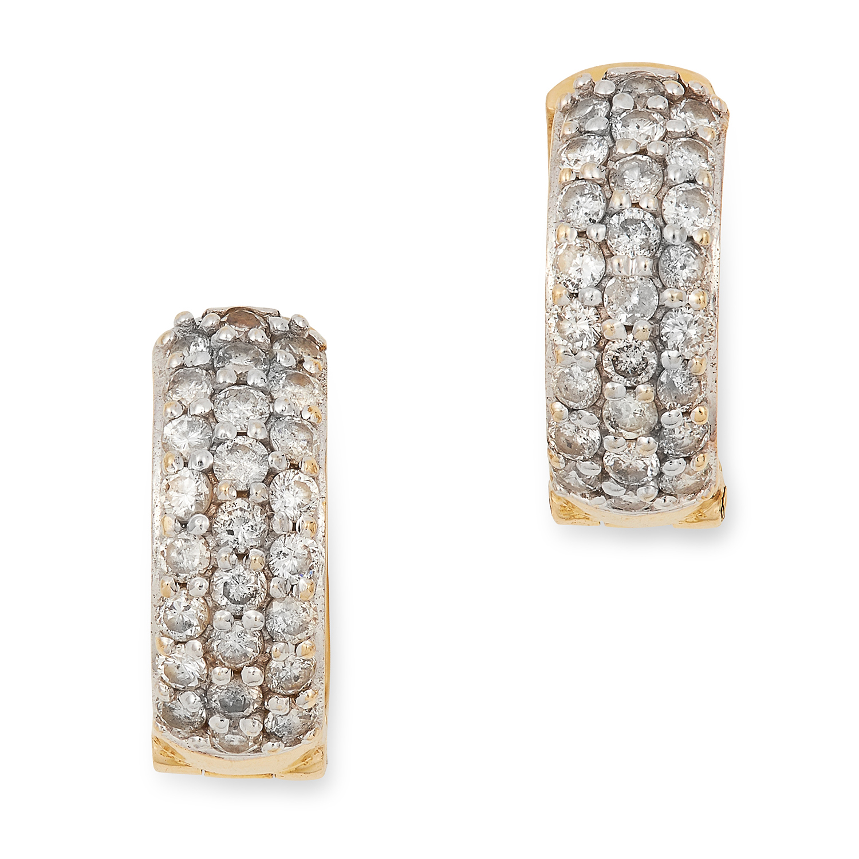 DIAMOND HOOP EARRINGS set with round cut diamonds, 1.5cm, 5.7g.