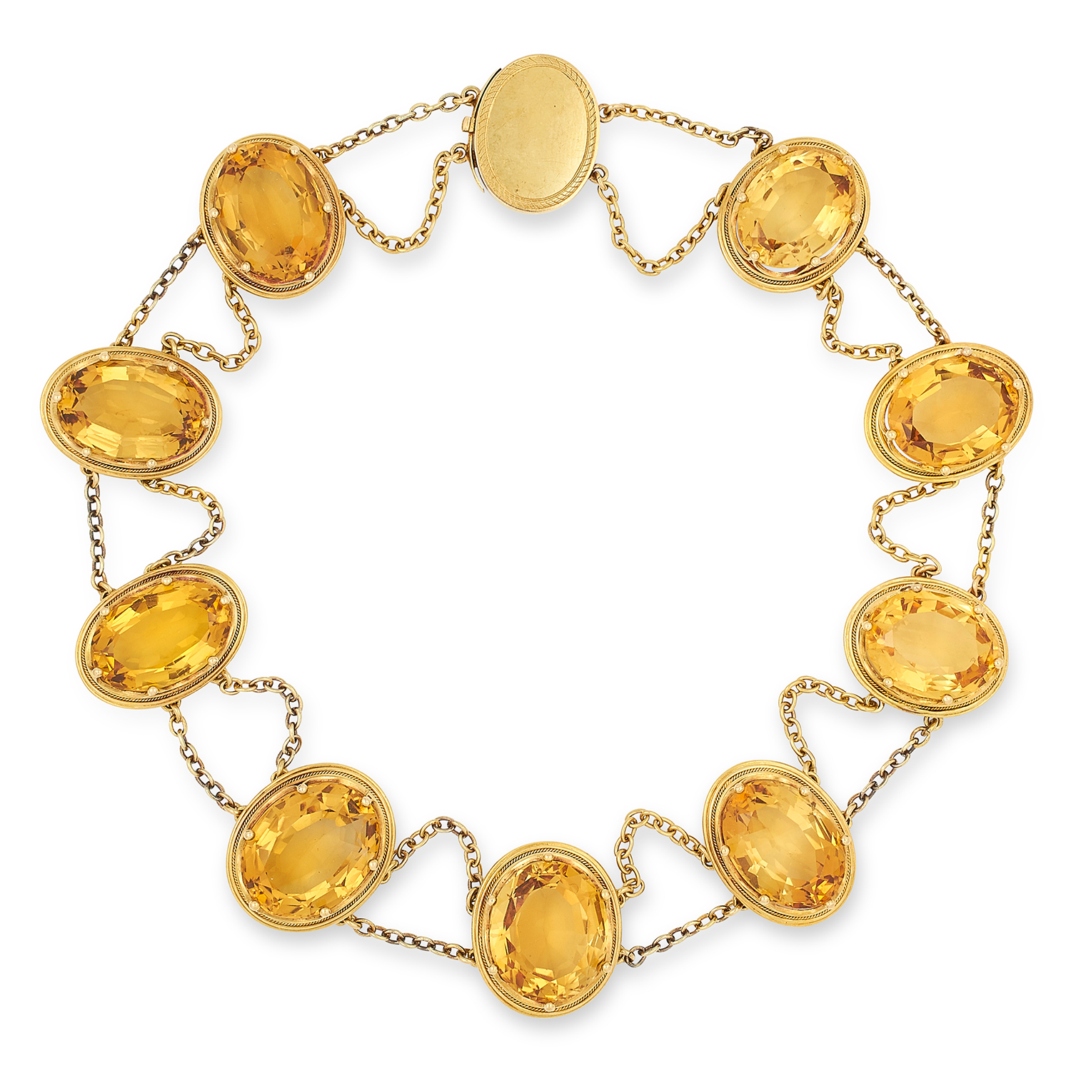 Los 4 - ANTIQUE CITRINE NECKLACE set with nine oval cut citrines suspending belcher link chain swags, 37.
