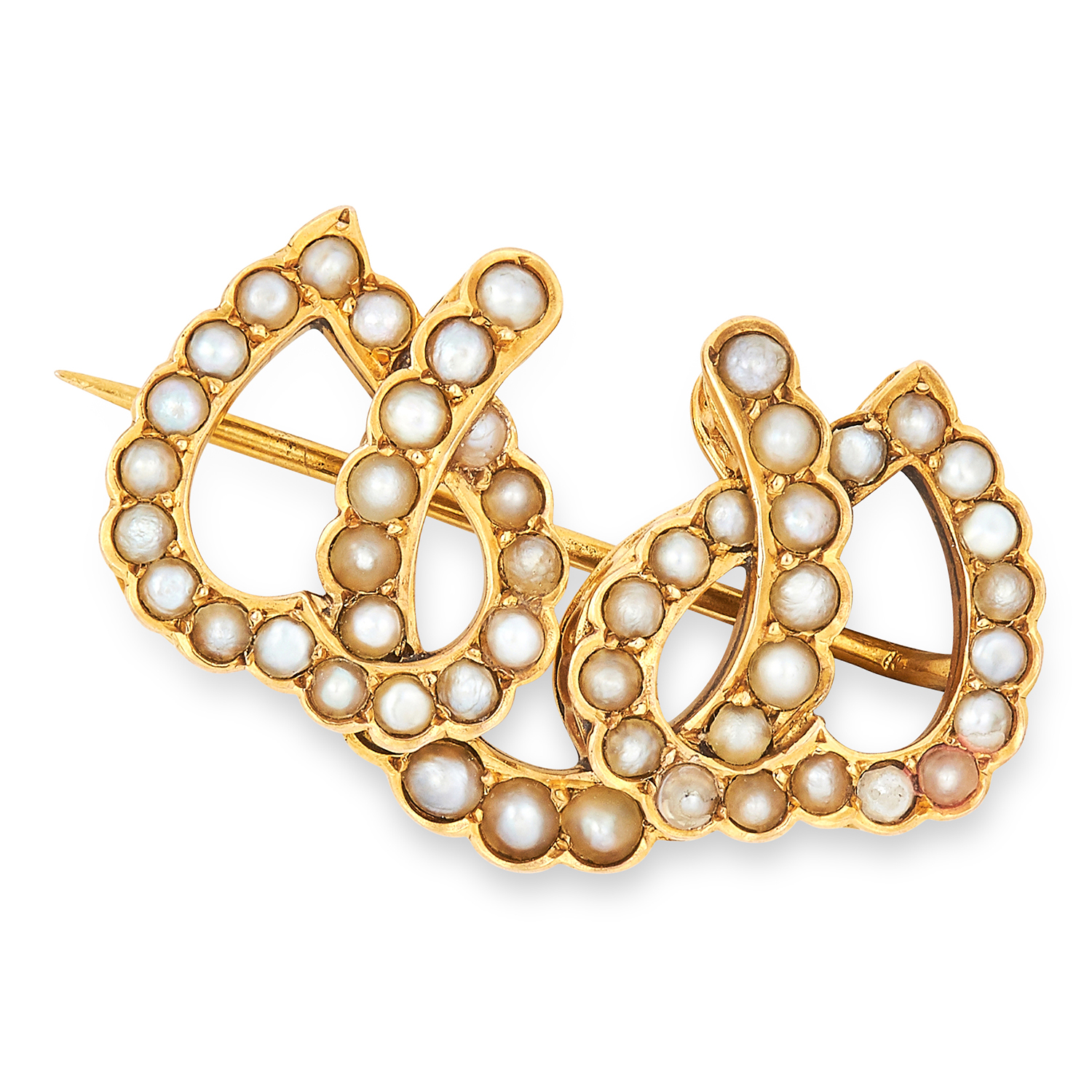 ANTIQUE PEARL HORSESHOE BROOCH, CIRCA 1900 the three overlapping horseshoes set with pearls, 2.