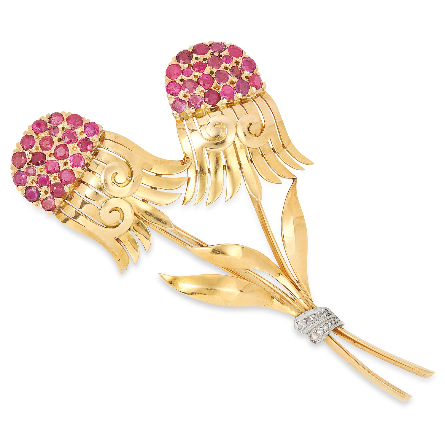 VINTAGE RUBY AND DIAMOND FLOWER SPRAY BROOCH set with round cut rubies and rose cut diamonds, 9.1cm,