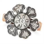 DIAMOND FLOWER RING set with old and rose cut diamonds, size P / 7.5, 4.8g.