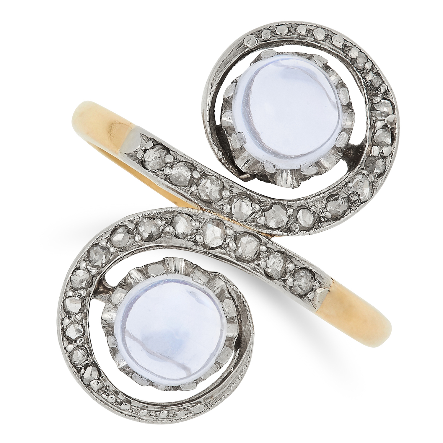 ANTIQUE MOONSTONE AND DIAMOND TOI ET MOI RING set with two cabochon moonstone and rose cut diamonds,
