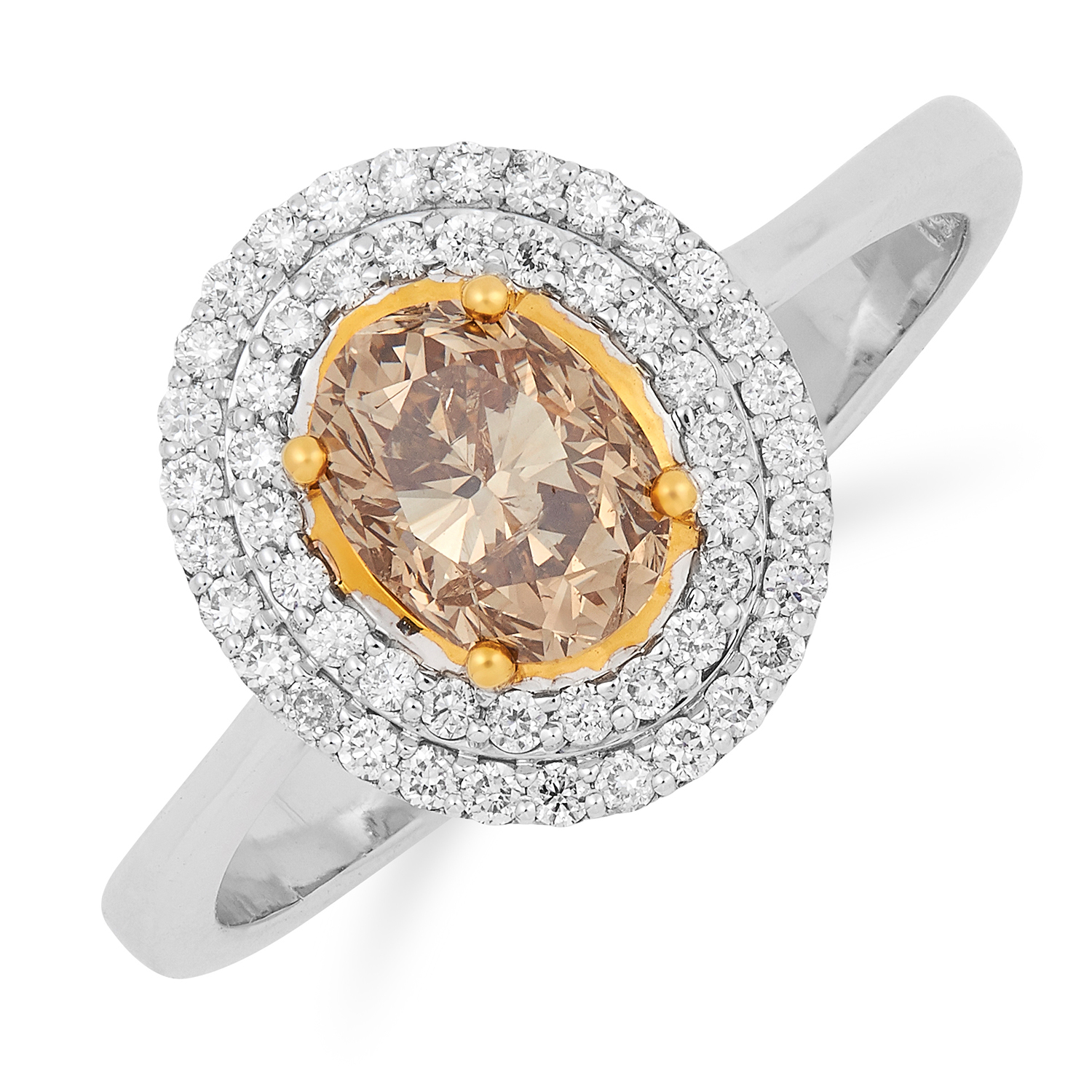 Los 58 - CHAMPAGNE DIAMOND CLUSTER RING set with an oval cut champagne diamond of approximately 1.00 carats