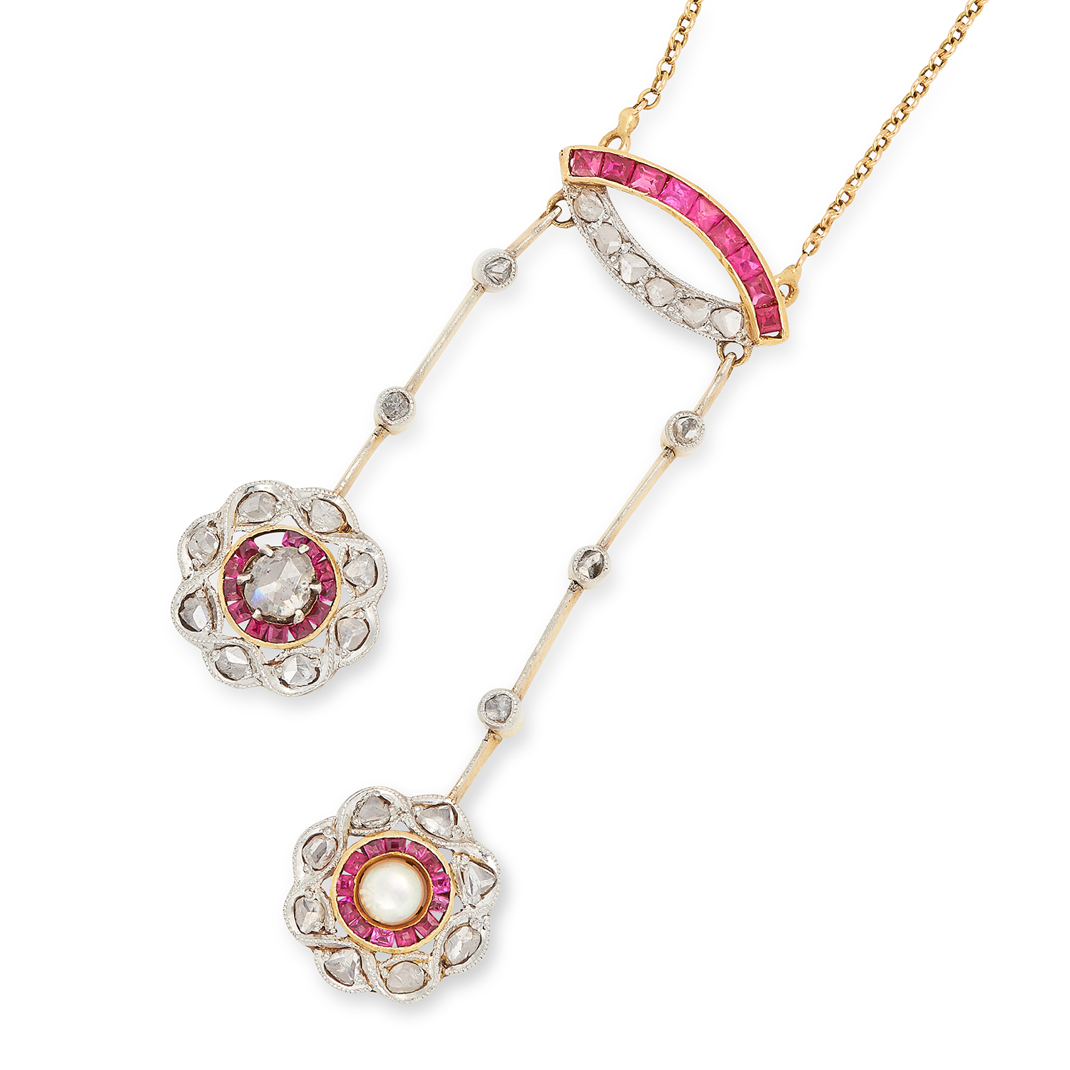 ANTIQUE RUBY, DIAMOND AND PEARL PENDANT set with step cut rubies, rose cut diamonds and a pearl, 6.
