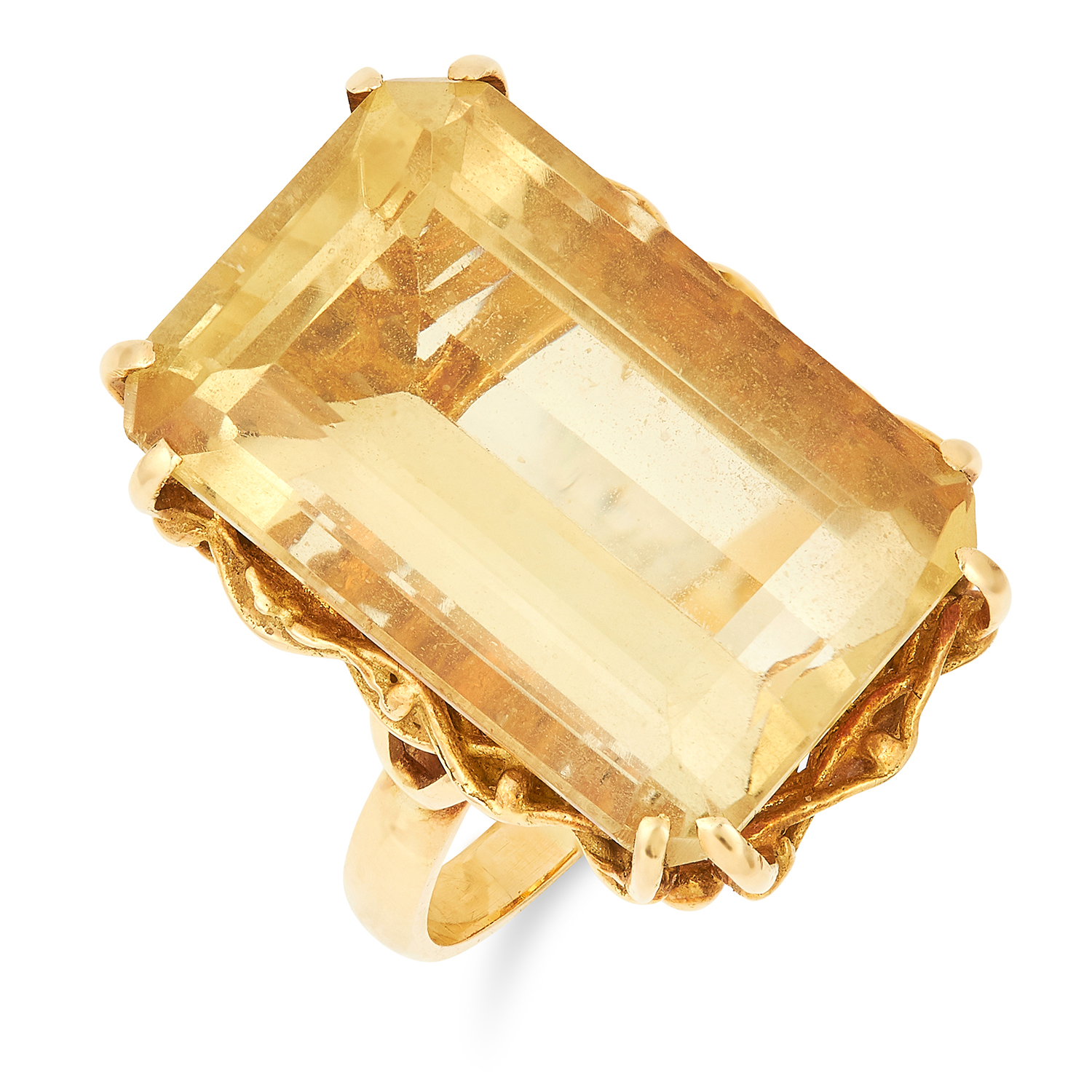 VINTAGE CITRINE DRESS RING, set with an emerald cut citrine set within a basket design gallery, size