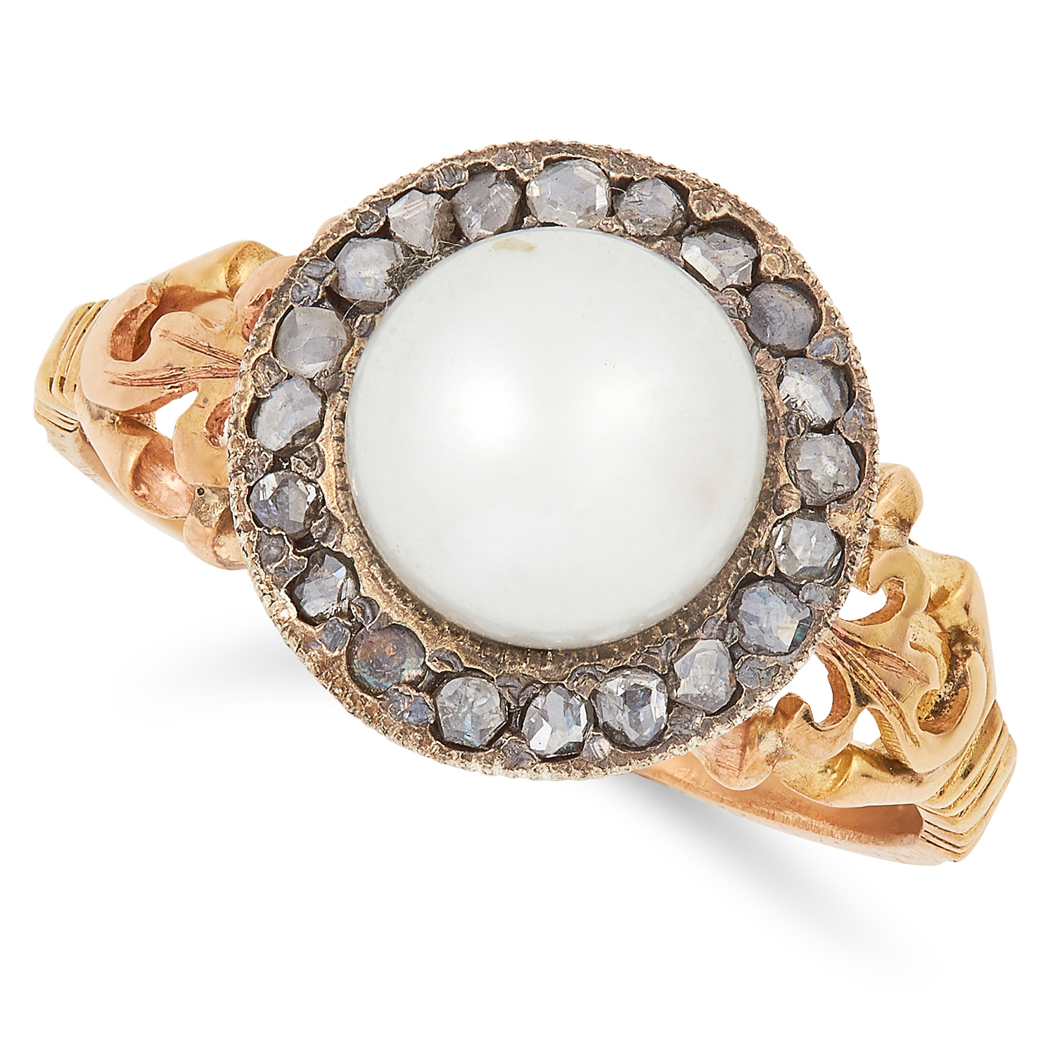 Los 11 - PEARL AND DIAMOND CLUSTER RING set with a pearl in a cluster of rose cut diamonds, size P / 7.5, 4.