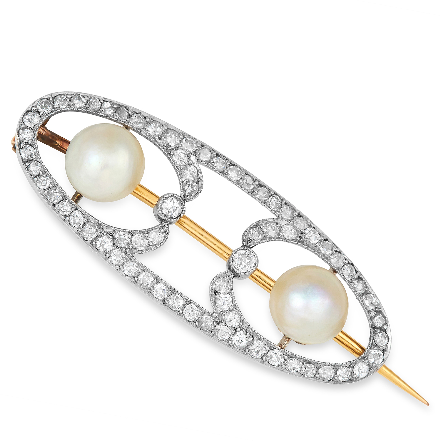 Los 19 - ART NOUVEAU DIAMOND AND PEARL BROOCH set with old cut diamonds and two pearls, possibly natural,