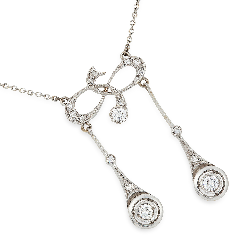 Los 25 - DIAMOND NEGLIGEE PENDANT set with round and rose cut diamonds, 7.5g.