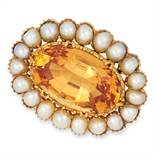 ANTIQUE IMPERIAL TOPAZ AND PEARL BROOCH set with an oval cut imperial topaz of approximately 7.54