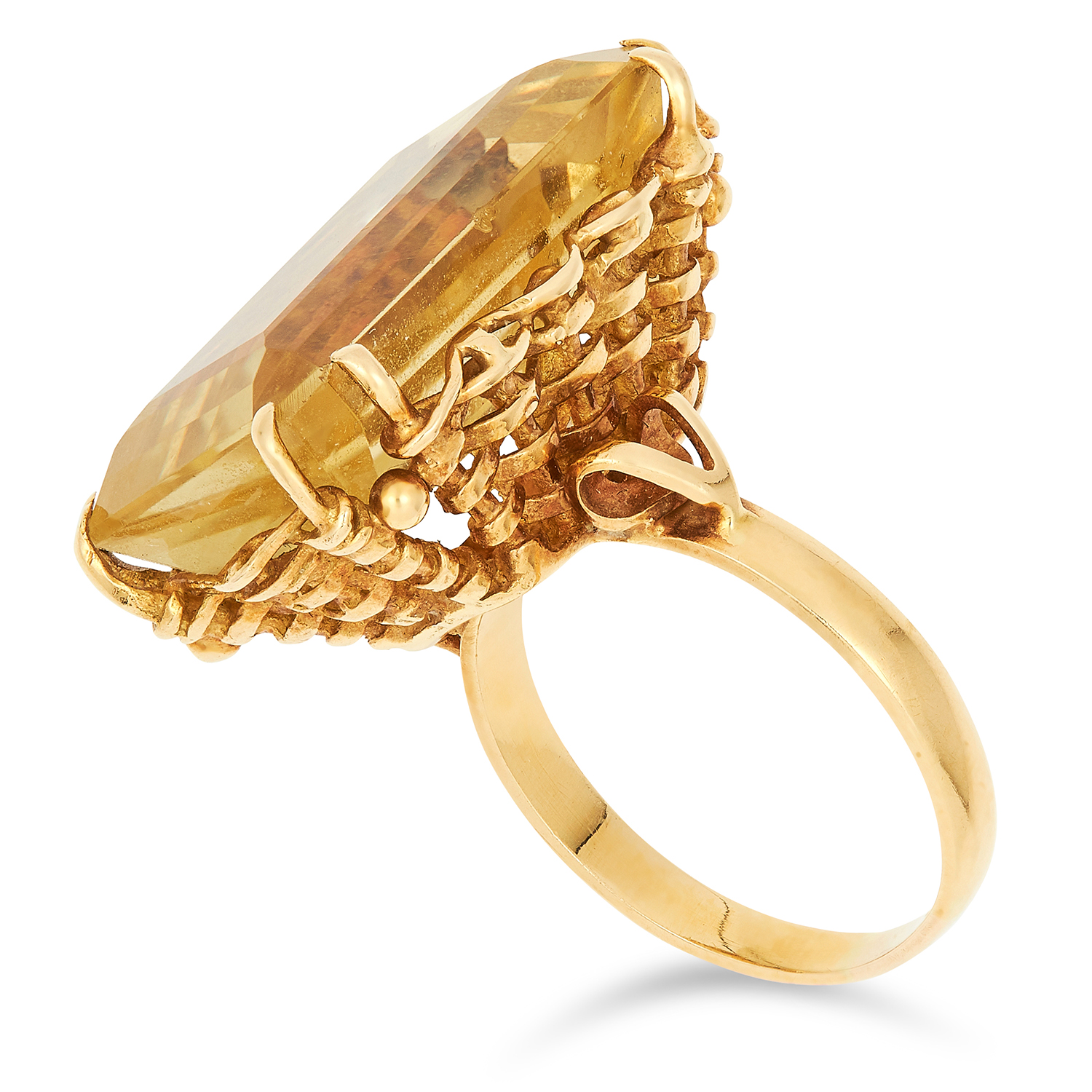 VINTAGE CITRINE DRESS RING, set with an emerald cut citrine set within a basket design gallery, size - Image 2 of 2