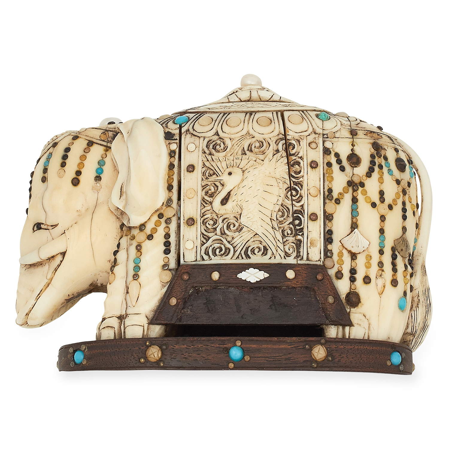 ANTIQUE MUGHAL IVORY GEMSET ELEPHANT STATUE with decorated detailing, 11cm, 334.7g.