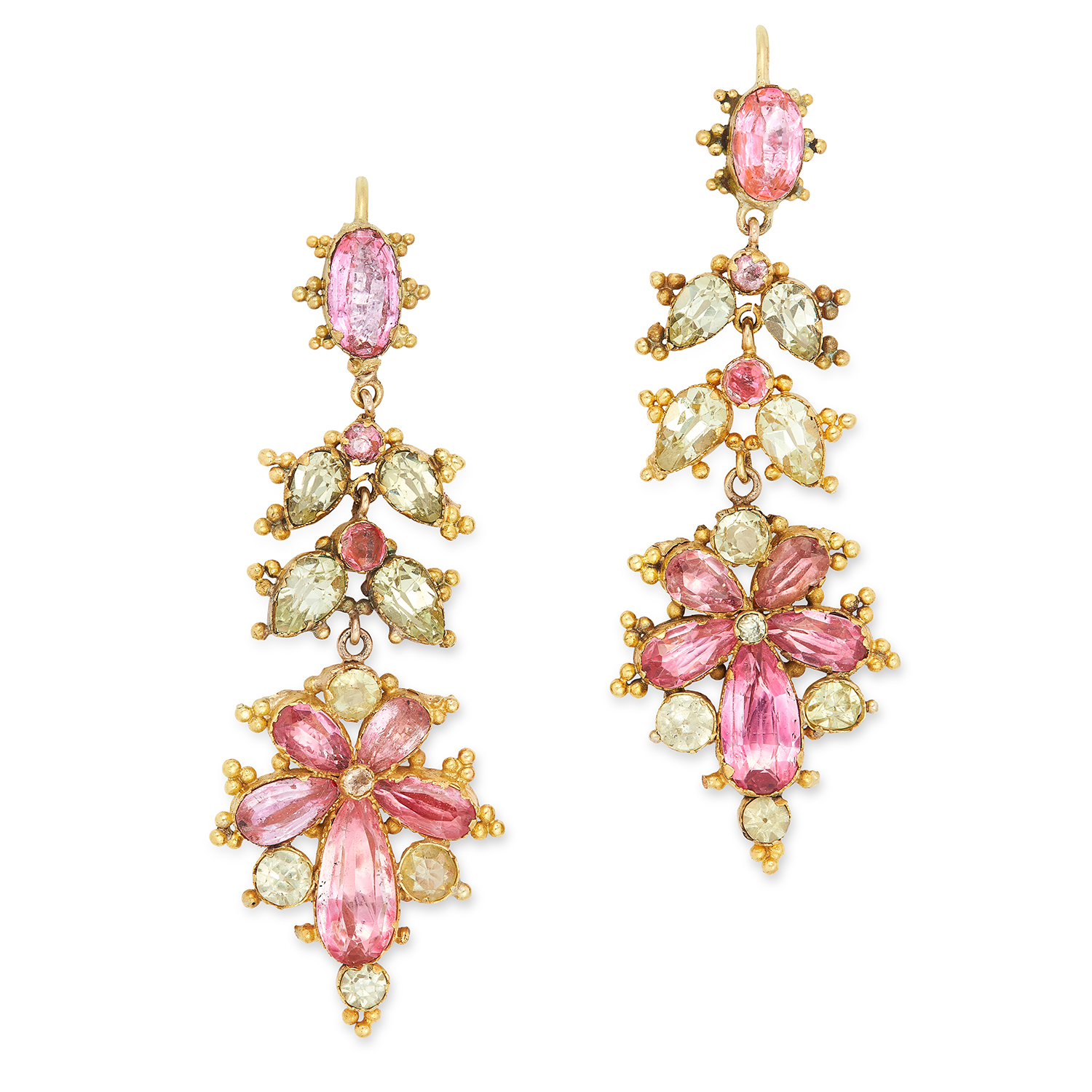 Los 43 - ANTIQUE PINK TOPAZ AND CHRYSOBERYL EARRINGS set with round, oval and pear cut pink topaz and