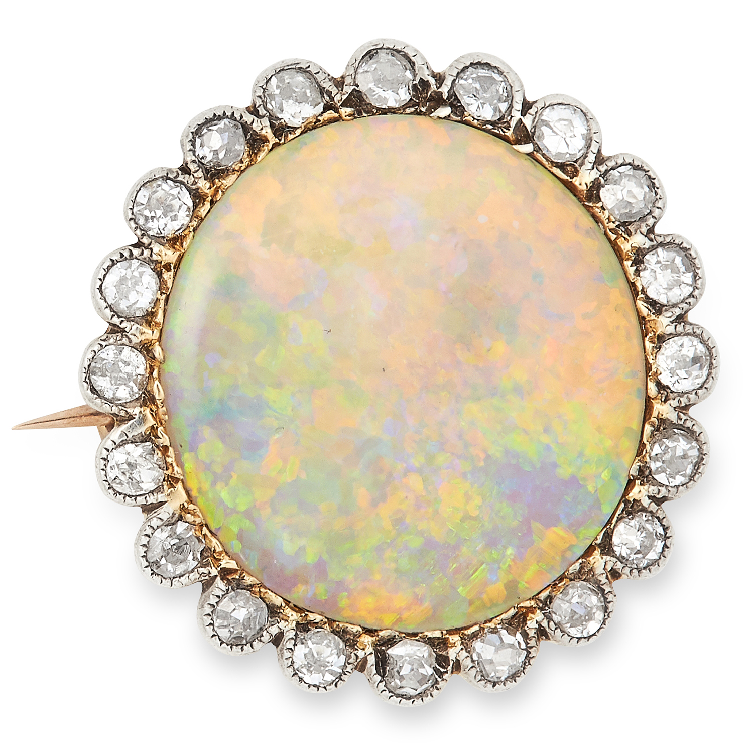 ANTIQUE OPAL AND DIAMOND BROOCH, 19TH CENTURY the circular cabochon opal of 14.3mm in diameter