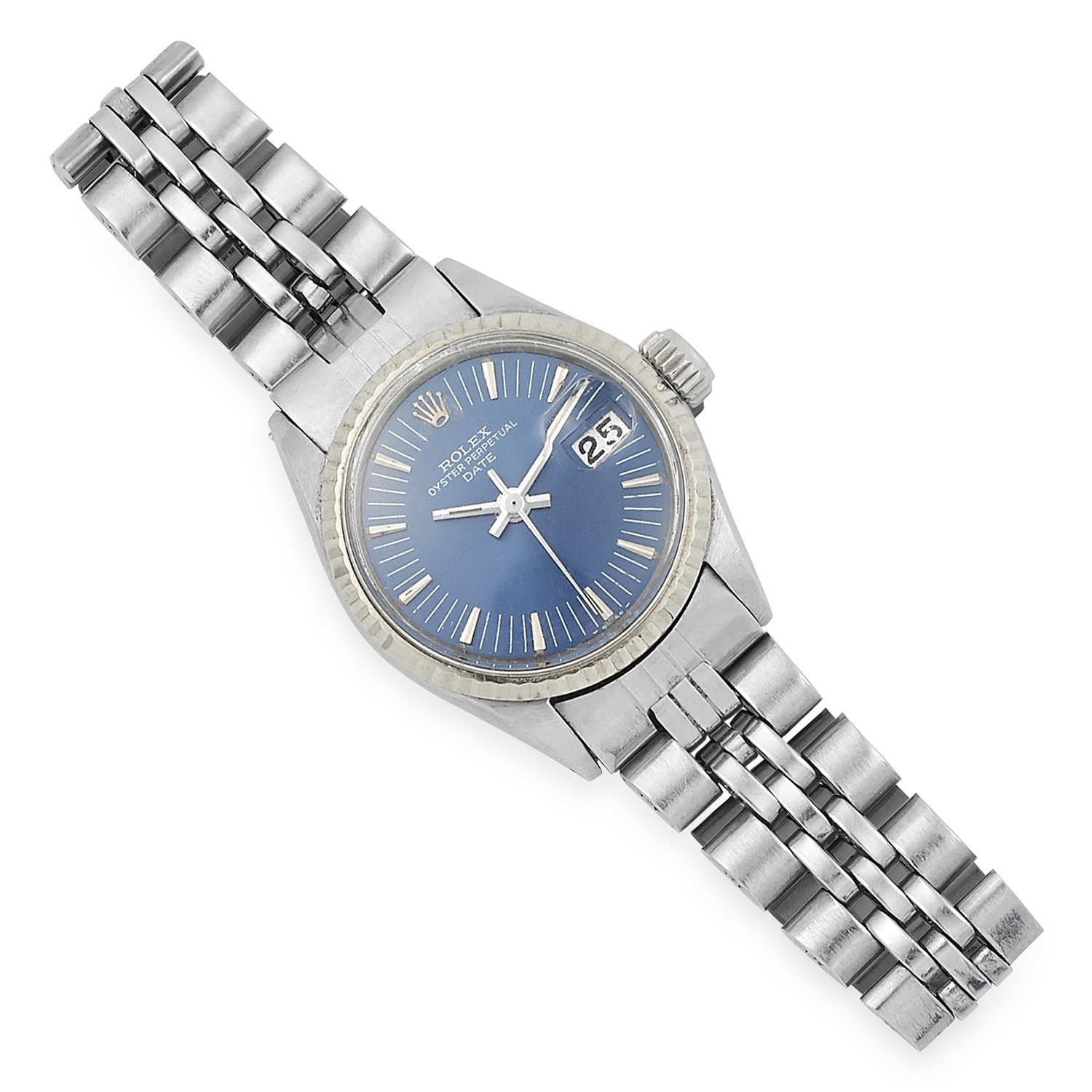 LADIES OYSTER PERPECTUAL WRISTWATCH, ROLEX with blue dial, 38.1g.