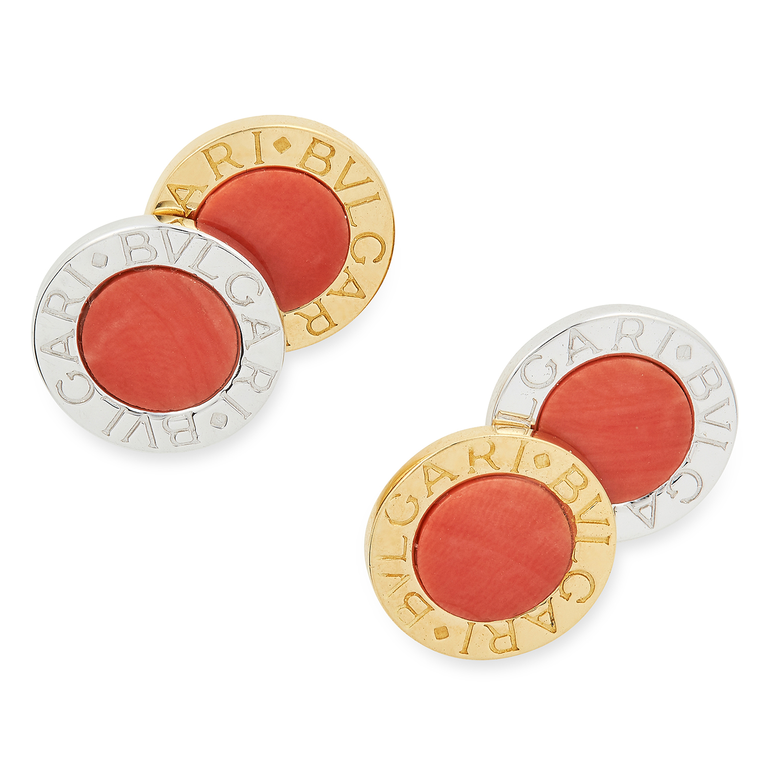 CORAL CUFFLINKS BY BULGARI each circular face set with a polished piece of coral, signed BVLGARI,