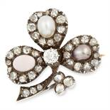 ANTIQUE PEARL, CORAL AND DIAMOND CLOVER BROOCH set with two pearls, a cabochon coral and rose cut