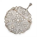 DIAMOND BROOCH / PENDANT set with round and rose cut diamonds in open framework, 6.9cm, 18.6g.