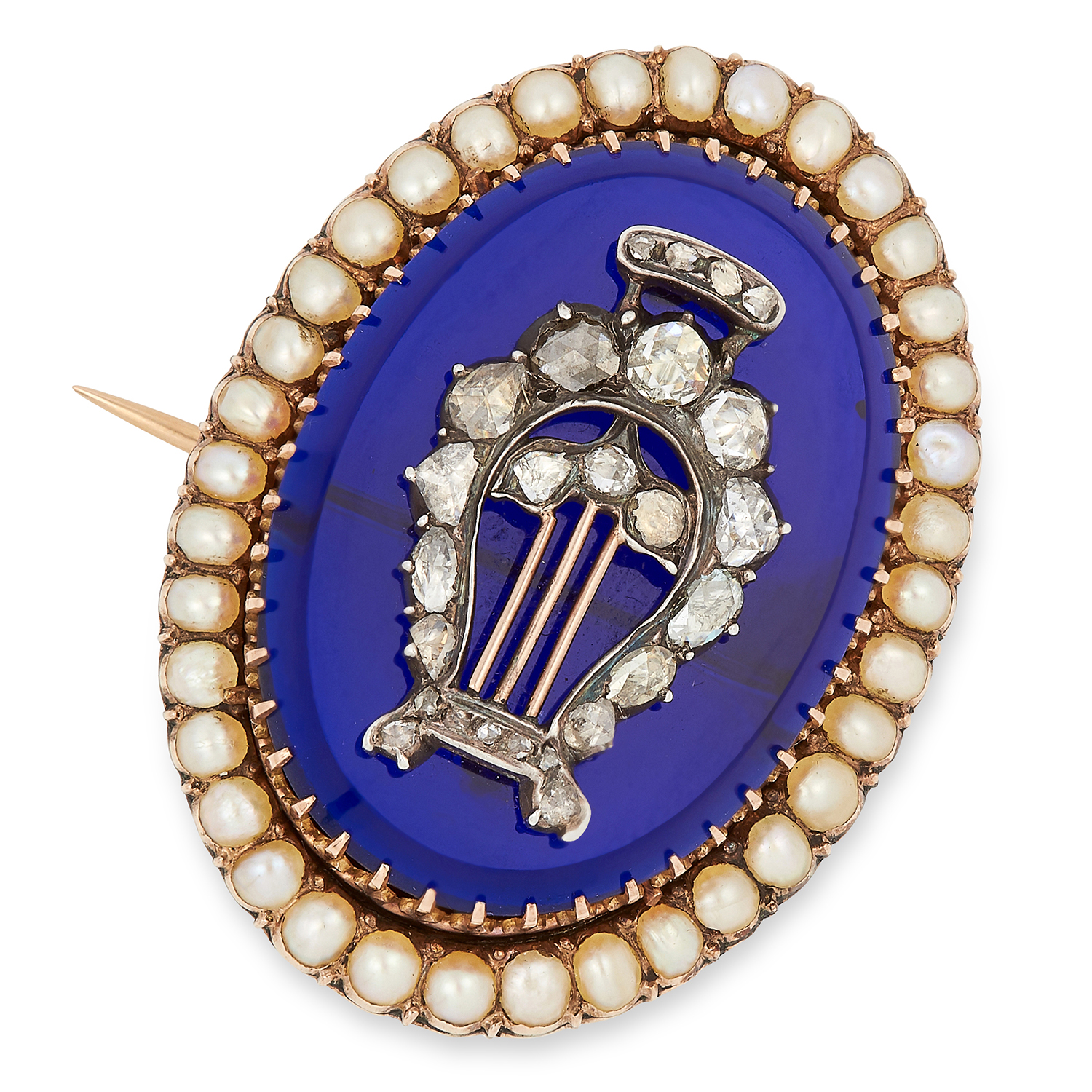 ANTIQUE VICTORIAN PEARL, DIAMOND AND BLUE HARDSTONE BROOCH set with rose cut diamonds in harp