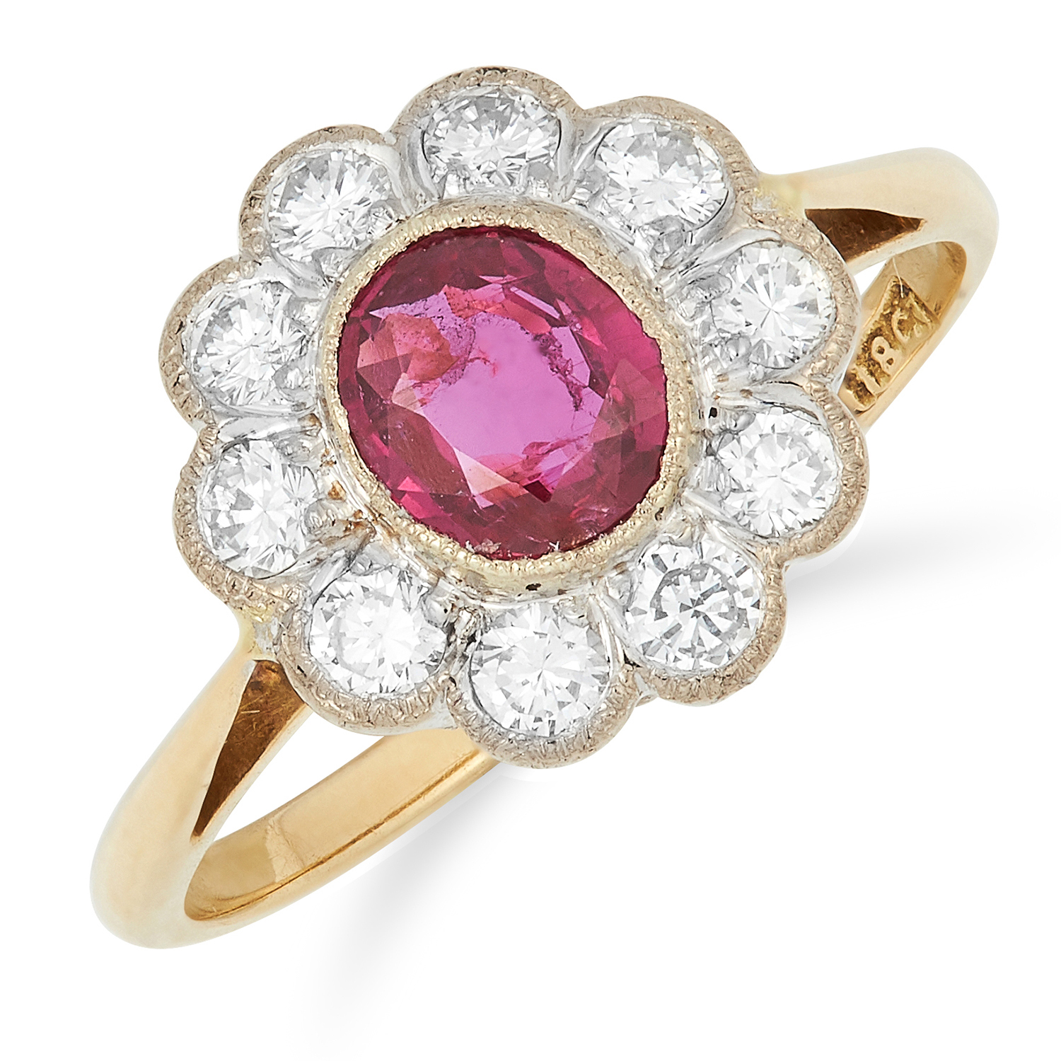 RUBY AND DIAMOND CLUSTER RING set with an oval cut ruby of approximately 0.68 carats, possibly Burma