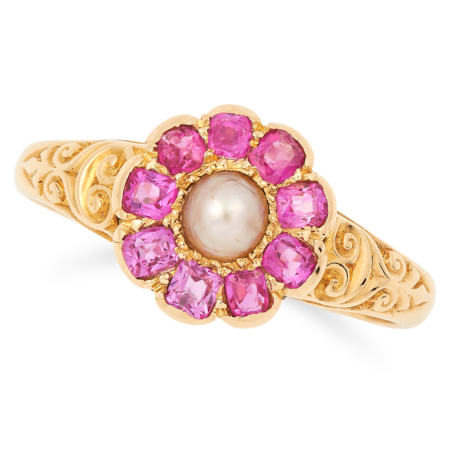 ANTIQUE PEARL AND RUBY CLUSTER RING set with a pearl in a border of cushion cut rubies, size P /