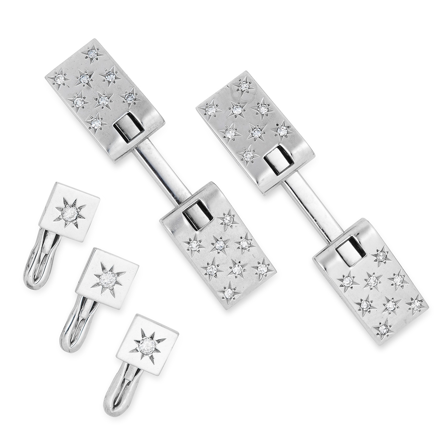 Los 124 - DIAMOND GENTLEMAN'S DRESS SET, GUBELIN formed of tapering, set with round cut diamonds in star
