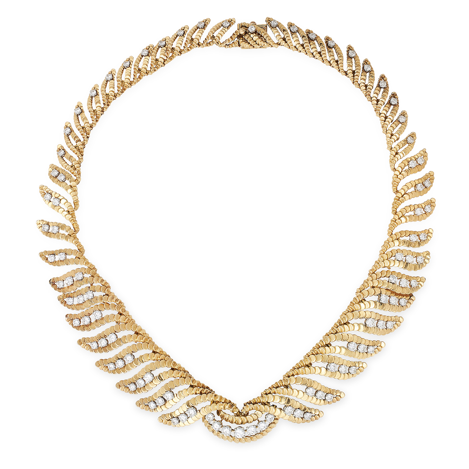 Los 55 - A VINTAGE DIAMOND NECKLACE, BOUCHERON formed of a collar of graduated foliate motifs jewelled with